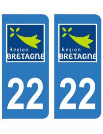Autocollants plaque immatriculation 22 Côte d'Armor