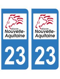 Autocollants plaque immatriculation 23 Creuse