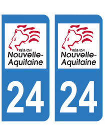 Autocollants plaque immatriculation 24 Dordogne