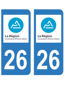 Autocollants plaque immatriculation 26 Drôme