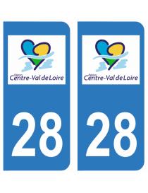 Autocollants plaque immatriculation 28 Eure et Loir
