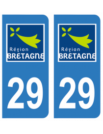Autocollants plaque immatriculation 29 Finistère