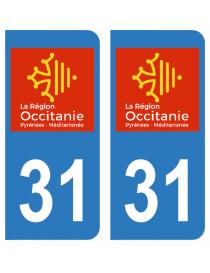 Autocollants plaque immatriculation 31 Haute Garonne