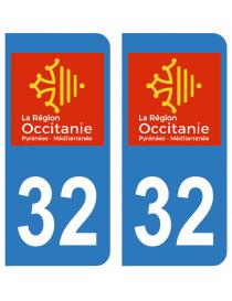 Autocollants plaque immatriculation 32 Gers