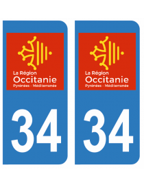 Autocollants plaque immatriculation 34 Hérault