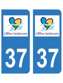 Autocollants plaque immatriculation 37 Indre et Loire