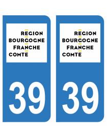 Autocollants plaque immatriculation 39 Jura