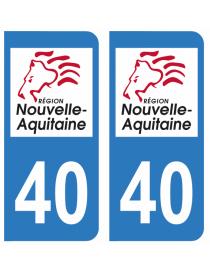 Autocollants plaque immatriculation 40 Landes