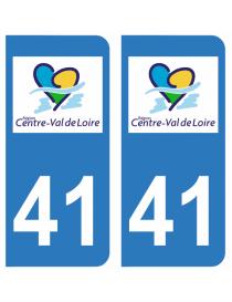 Autocollants plaque immatriculation 41 Loir et Cher