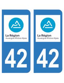 Autocollants plaque immatriculation 42 Loire