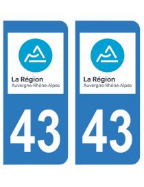 Autocollants plaque immatriculation 43 Haute Loire
