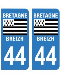 Autocollants plaque immatriculation 44 Loire Atlantique