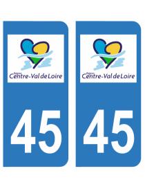 Autocollants plaque immatriculation 45 Loiret