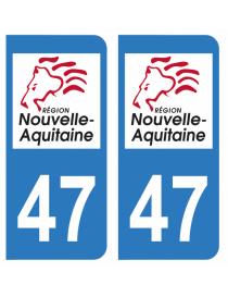 Autocollants plaque immatriculation 47 Lot et Garonne