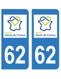 Autocollants plaque immatriculation 62 Pas de Calais