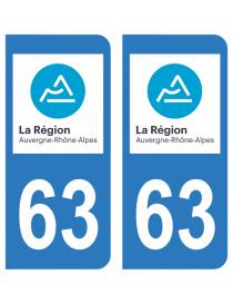 Autocollants plaque immatriculation 63 Puy de Dome