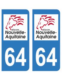 Autocollants plaque immatriculation 64 Pyrénées Atlantique
