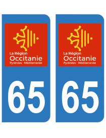Autocollants plaque immatriculation 65 Haute Pyrénées