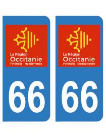 Autocollants plaque immatriculation 66 Pyrénées Orientales