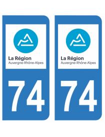 Autocollants plaque immatriculation 74 Haute Savoie
