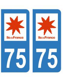 Autocollants plaque immatriculation 75 Paris