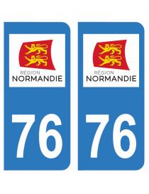 Autocollants plaque immatriculation 76 Seine Maritime