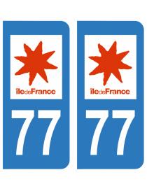 Autocollants plaque immatriculation 77 Seine et Marne