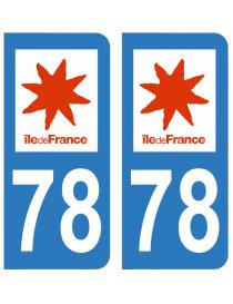 Autocollants plaque immatriculation 78 Yvelines