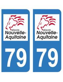 Autocollants plaque immatriculation 79 Deux Sèvres