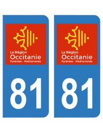 Autocollants plaque immatriculation 81 Tarn