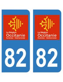 Autocollants plaque immatriculation 82 Tarn et Garonne