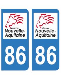 Autocollants plaque immatriculation 86 Vienne