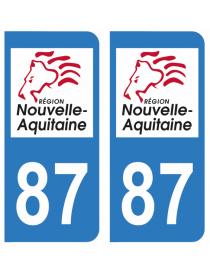 Autocollants plaque immatriculation 87 Haute Vienne