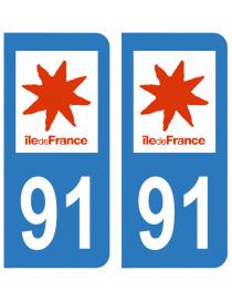 Autocollants plaque immatriculation 91 Essonne