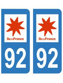 Autocollants plaque immatriculation 92 haut de Seine