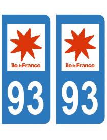 Autocollants plaque immatriculation 93 Seine Saint Denis