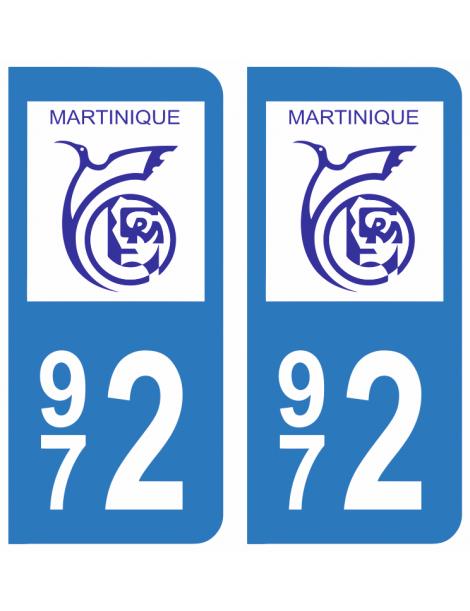 Autocollants plaque immatriculation  972 Martinique
